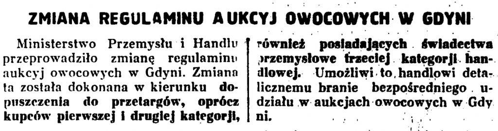 Zmiana regulaminu aukcyj owocowych w Gdyni