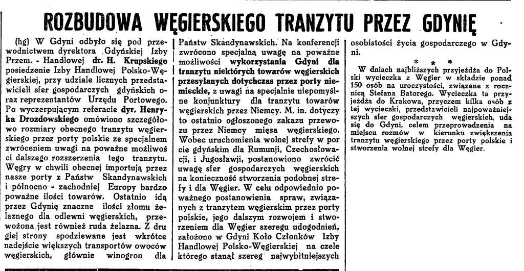 Rozbudowa węgierskiego tranzytu przez Gdynię
