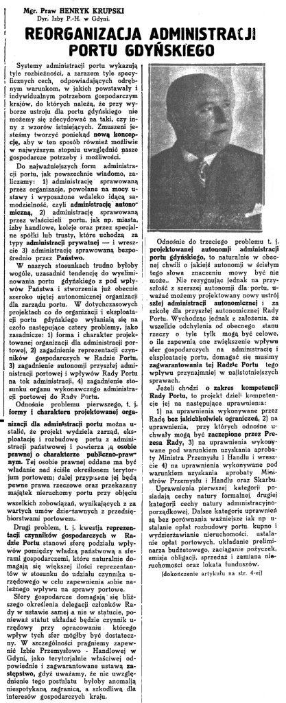 Reorganizacja administracji portu gdyńskiego