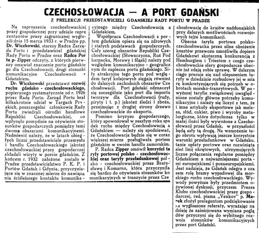 Czechosłowacja a port gdański w Pradze