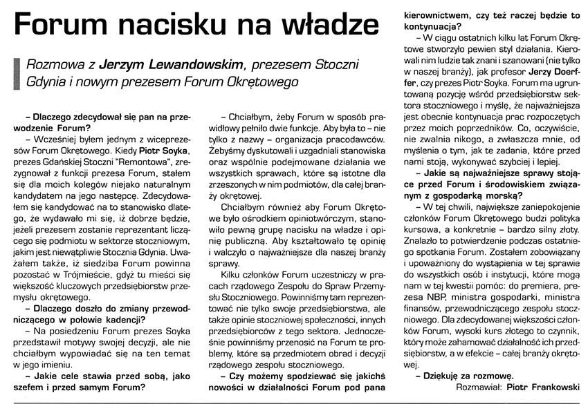 Forum naacisku na władze ; rozmowa z Jerzym Lewandowskim, prezesem Stoczni Gdynia i nowym prezesem Forum Okrętowego