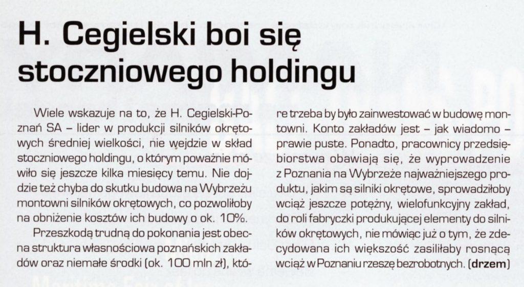 H. Cegielski boi się stoczniowego holdingu
