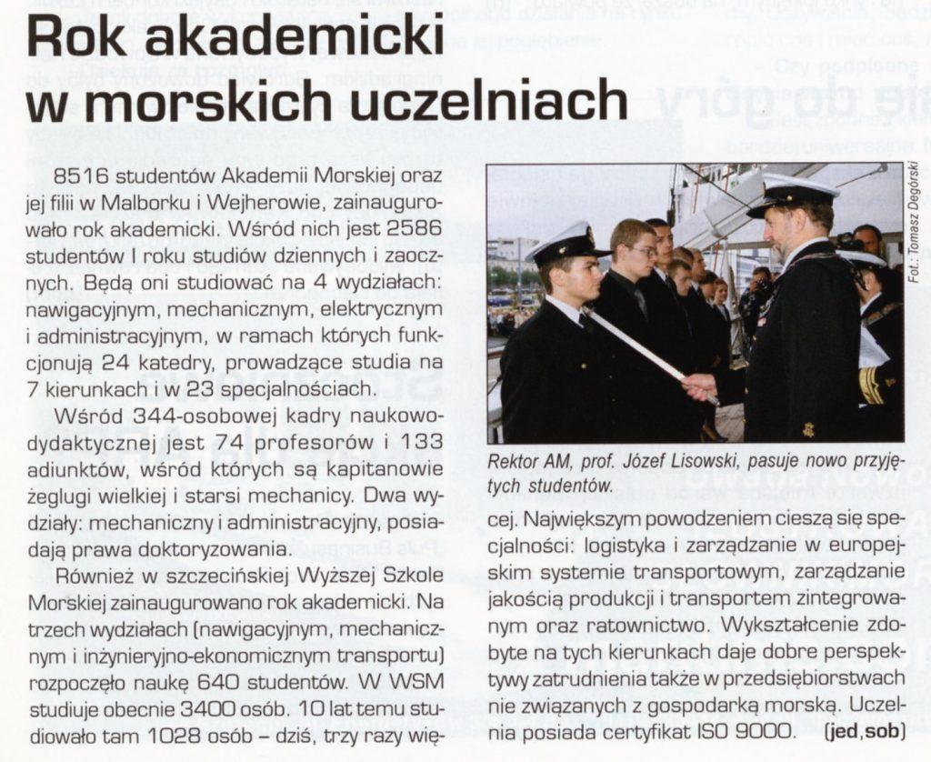 Rok akademicki w morskich uczeleniach