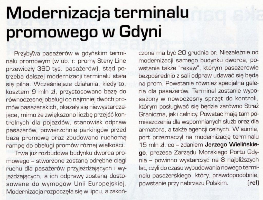 Modernizacja terminalu promowego w Gdyni