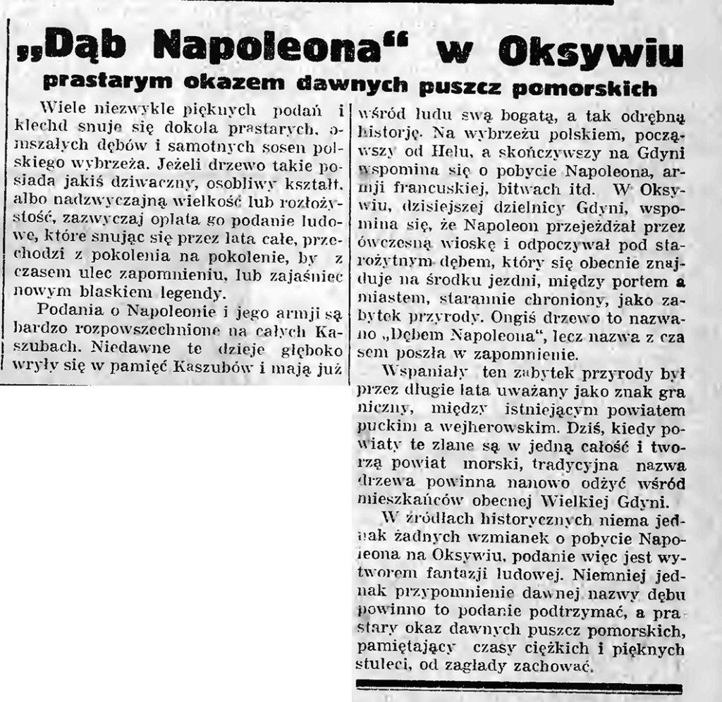 Dąb Napoleona w Oksywiu prastarym okazem dawnych puszcz pomorskich
