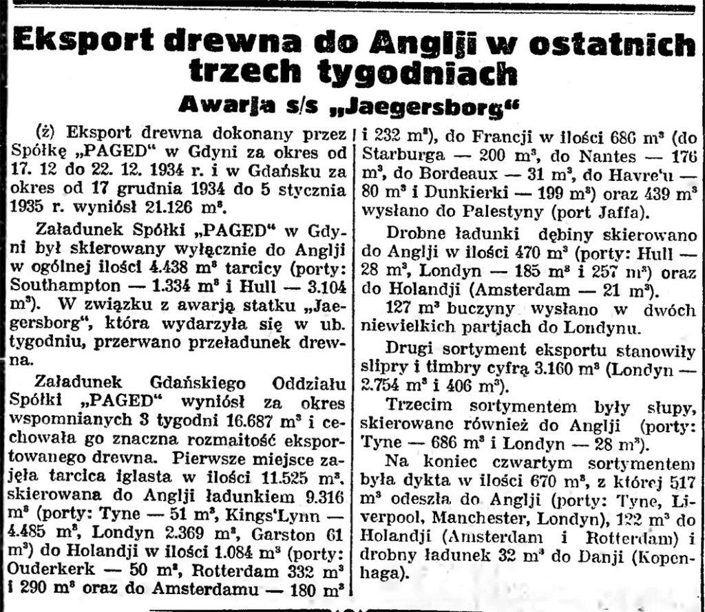 Eksport drewna do Anglji w ostatnich trzech tygodniach