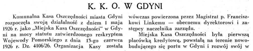 Krajowa Kasa Oszczędności w Gdyni 1