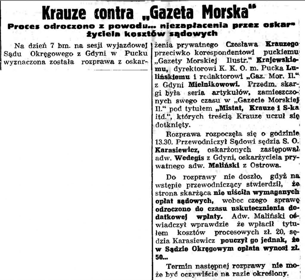 Krauze contra Gazeta Morska. Proces odroczono z powodu ... niezapłacenia przez oskarżyciela kosztów sądowych s14