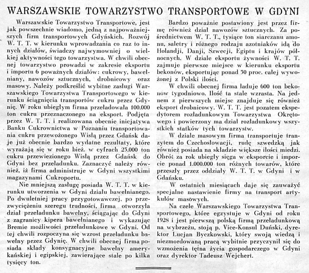 Warszawskie Towarzystwo Transportowe w Gdyni