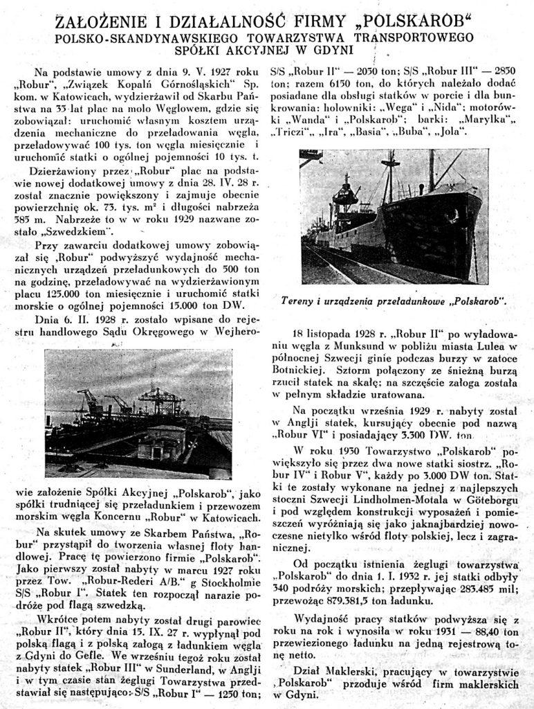 Założenie i działalność firmy POLSKAROB Polsko-Skandynawskiego Towarzystwa Transportowego Spółki Akcyjnej w Gdyni