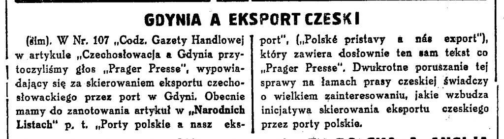 Gdynia a eksport czeski