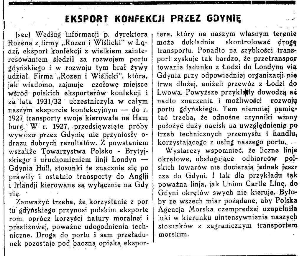 Eksport konfekcji przez Gdynię