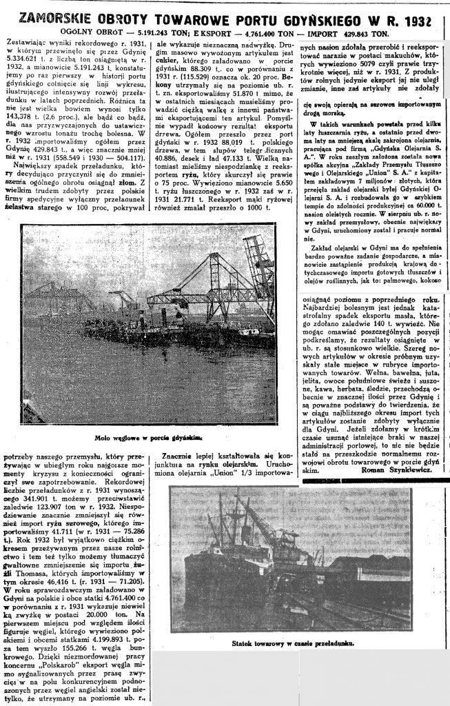 Zamorskie obroty towarowe portu gdyńskiego w 1932 r.
