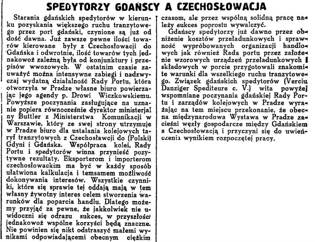Spedytorzy gdańscy a Czechosłowacja