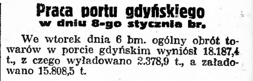 Praca portu gdyńskiego w dniu 8-go stycznia br.