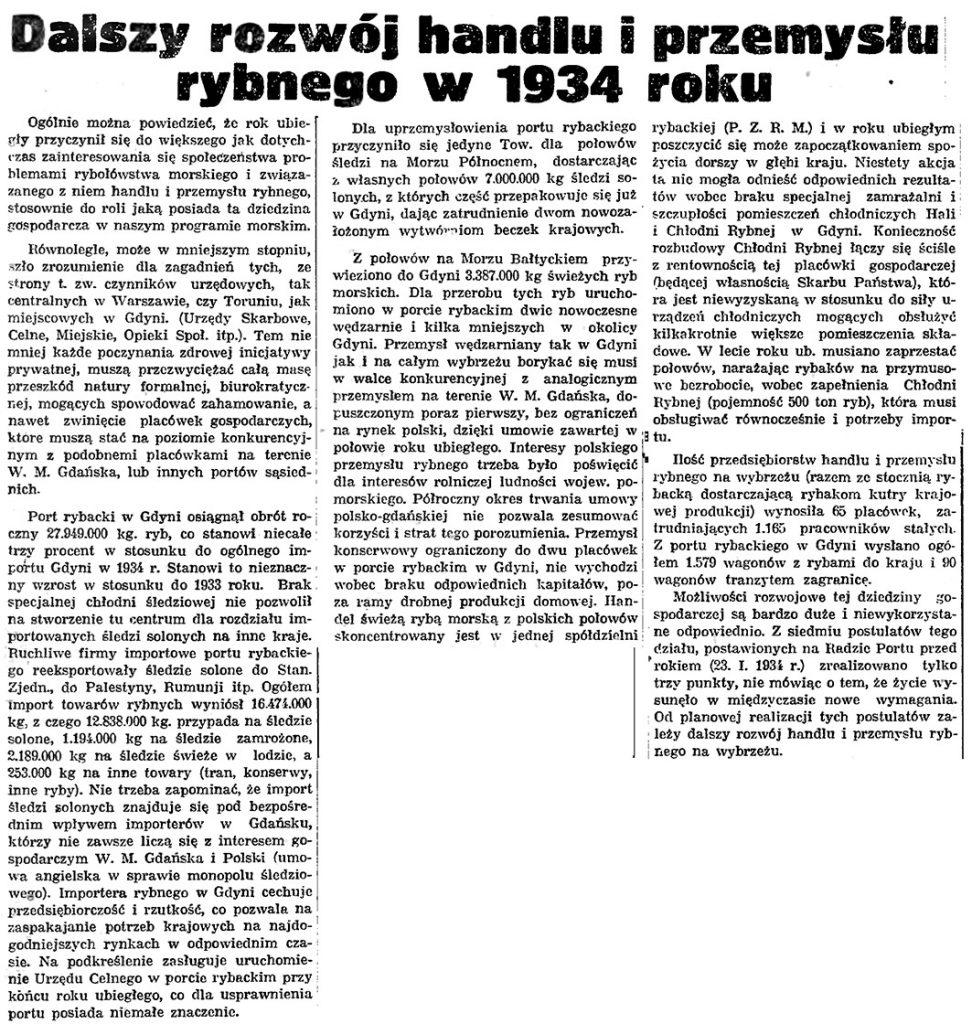 Dalszy rozwój handlu i przemysłu rybnego w 1934 roku