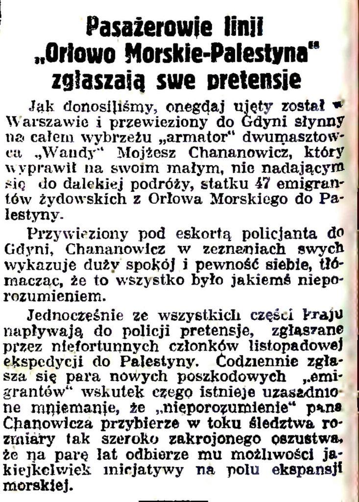 """Pasażerowie linji """"Orłowo Morskie - Palestyna""""zgłaszają swe pretensje"""