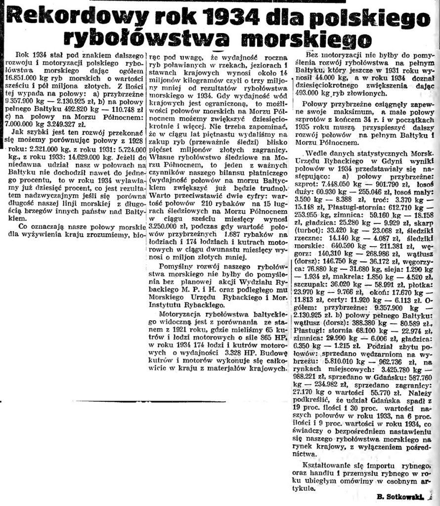 Rekordowy rok 1934 dla polskiego rybołówstwa morskiego