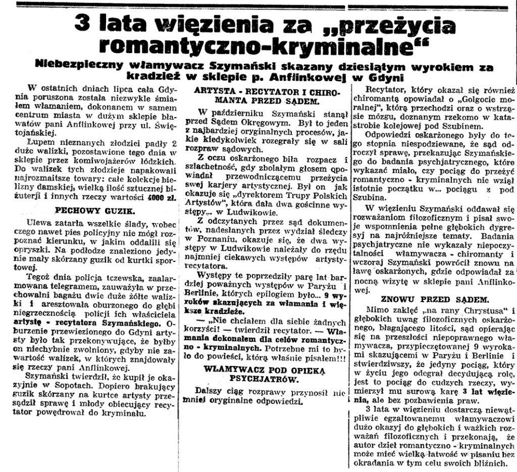 """3 lata więzienia za """"przeżycia romantyczno-kryminalne"""". Niebezpieczny włamywacz Szymański skazany dziesiątym wyrokiem za kradzież w sklepie p. Anflinkowej w Gdyni"""