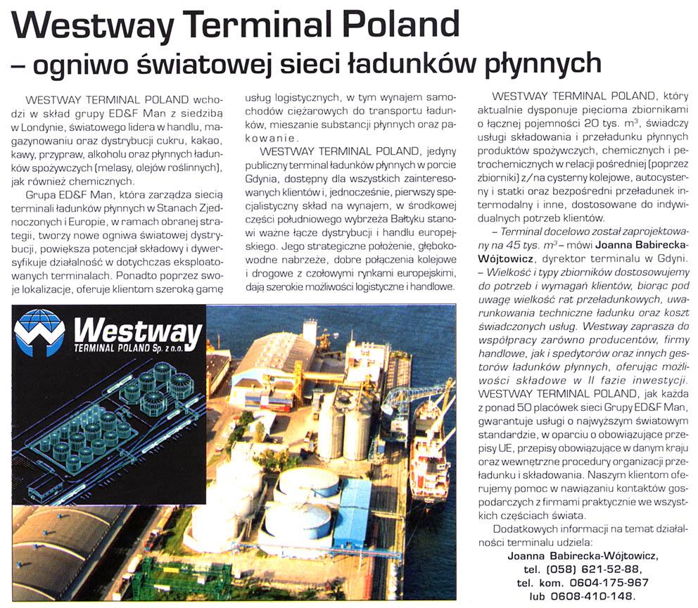 Westway Terminal Poland - ogniwo światowej sieci ładunków płynnych
