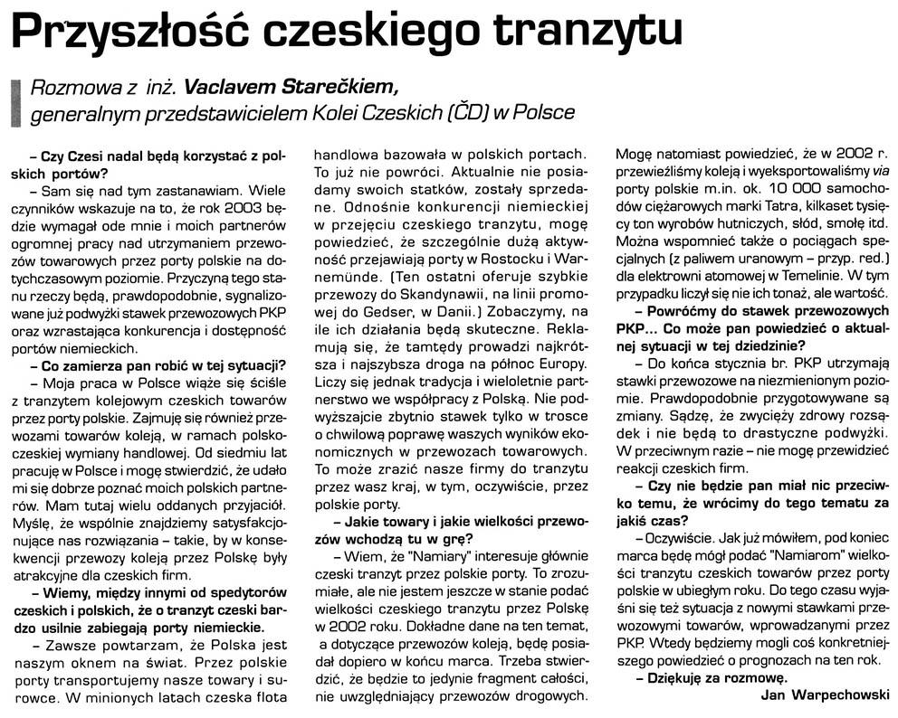 Przyszłość czeskiego tranzytu