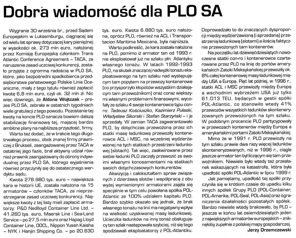 Dobra wiadomość dla PLO SA