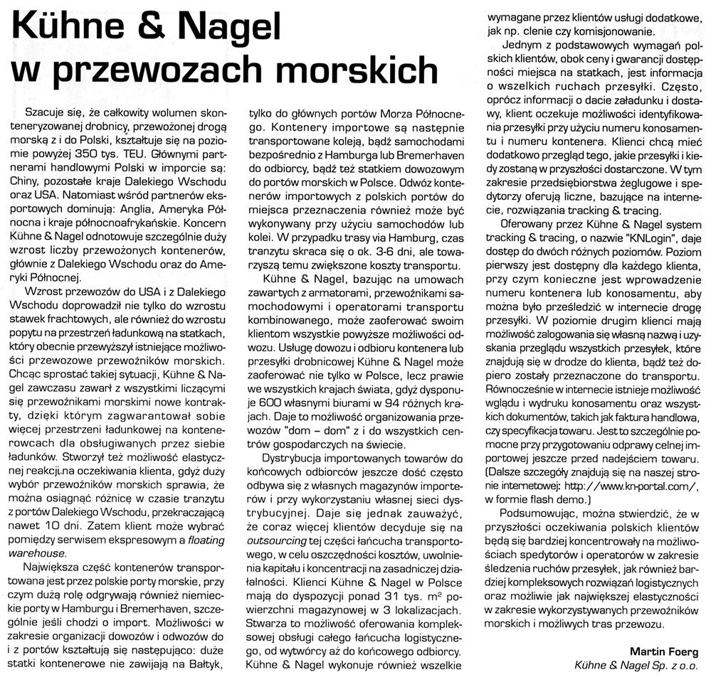 Kuhne and Nagel w przewozach morskich