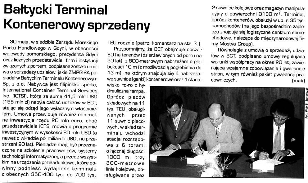 Bałtycki Terminal Kontenerowy sprzedany