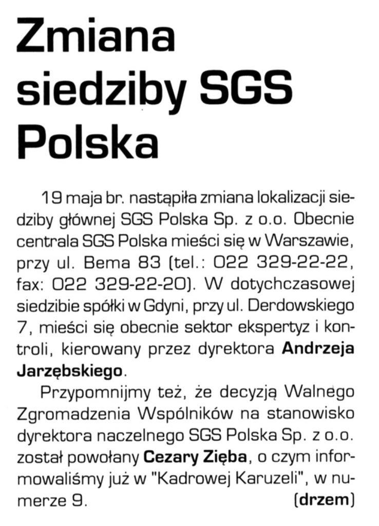 Zmiana siedziby SGS Polska