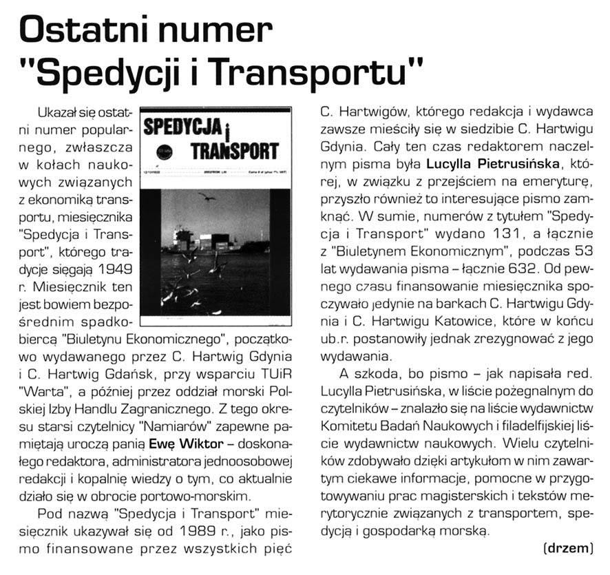 """Ostatni numer """"Spedycji i Transportu"""""""