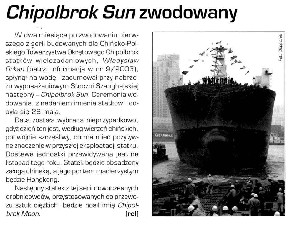 Chipolbrok Sun zwodowany
