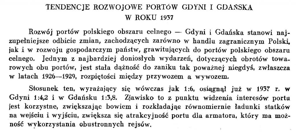 Tendencje rozwojowe portów Gdyni i Gdańska w roku 1937 i Gdańska
