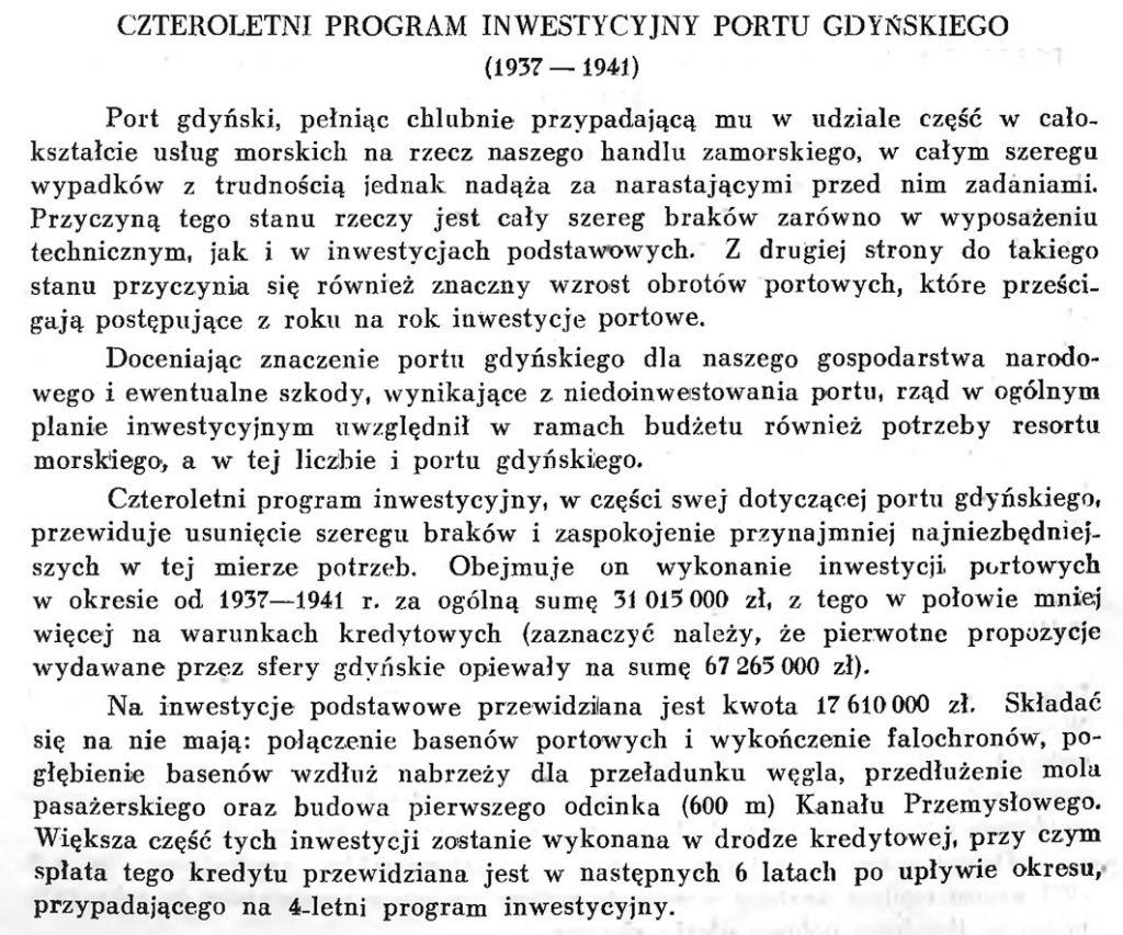 Czteroletni program inwestycyjny portu gdyńskiego (1937-1941)