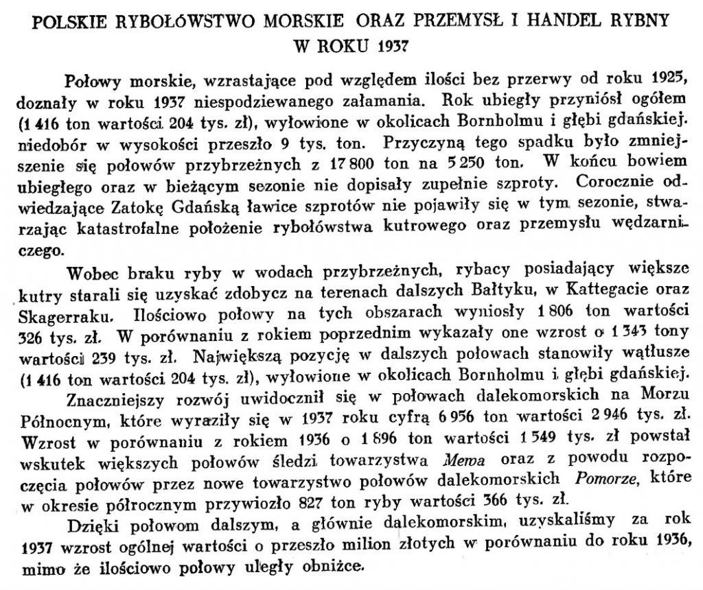 Polskie rybołówstwo morskie oraz przemysł i handel rybny w roku 1937