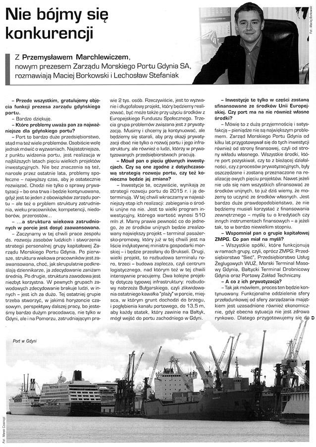Nie bójmy się konkurencji / z Przemysławem Marchlewiczem, nowym prezesem Zarządu Morskiego Portu Gdynia SAm rozmawiają Maciej Borkowski i Lechosław Stefaniak