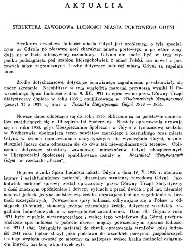 Struktura zawodowa ludności miasta portowego w Gdyni