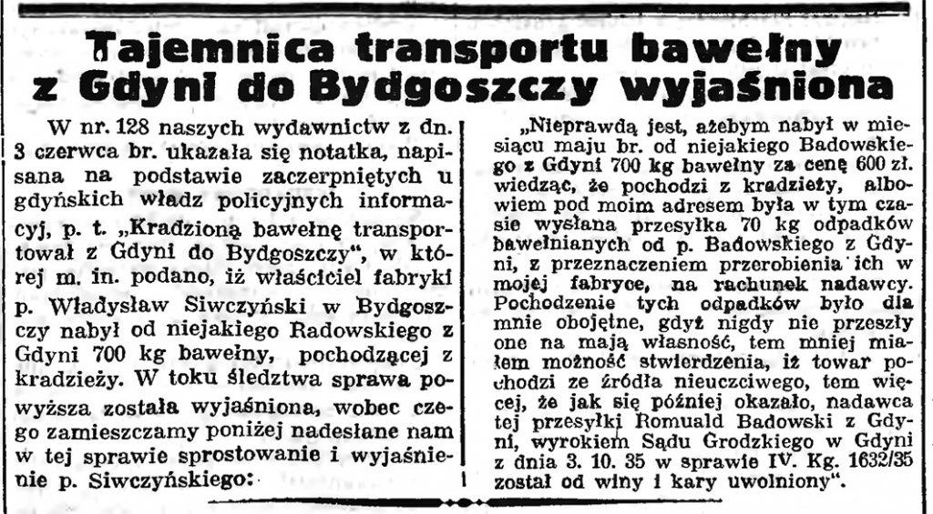 Tajemnica transportu bawełny z Gdyni do Bydgoszczy wyjaśniona