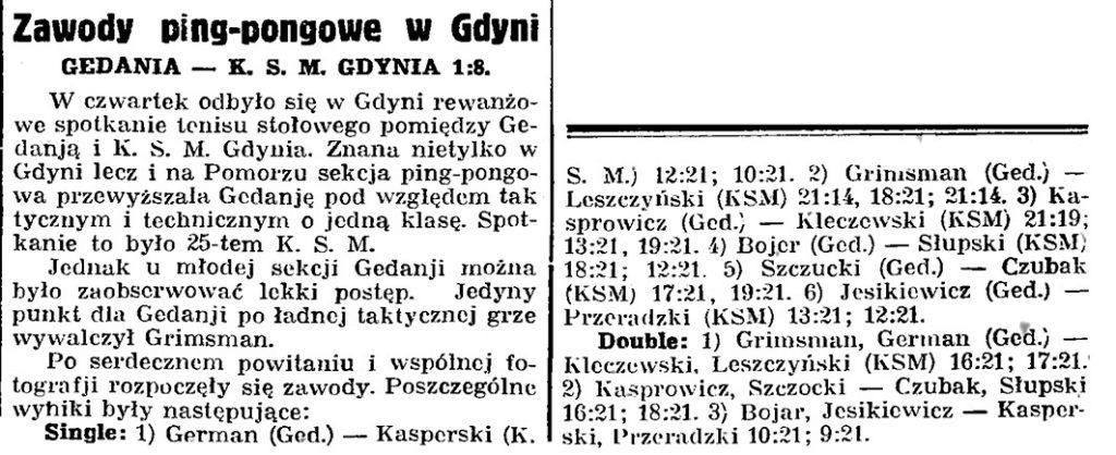 Zawody ping-pongowe w Gdyni GEDANIA - K. S. M. Gdynia 1:8