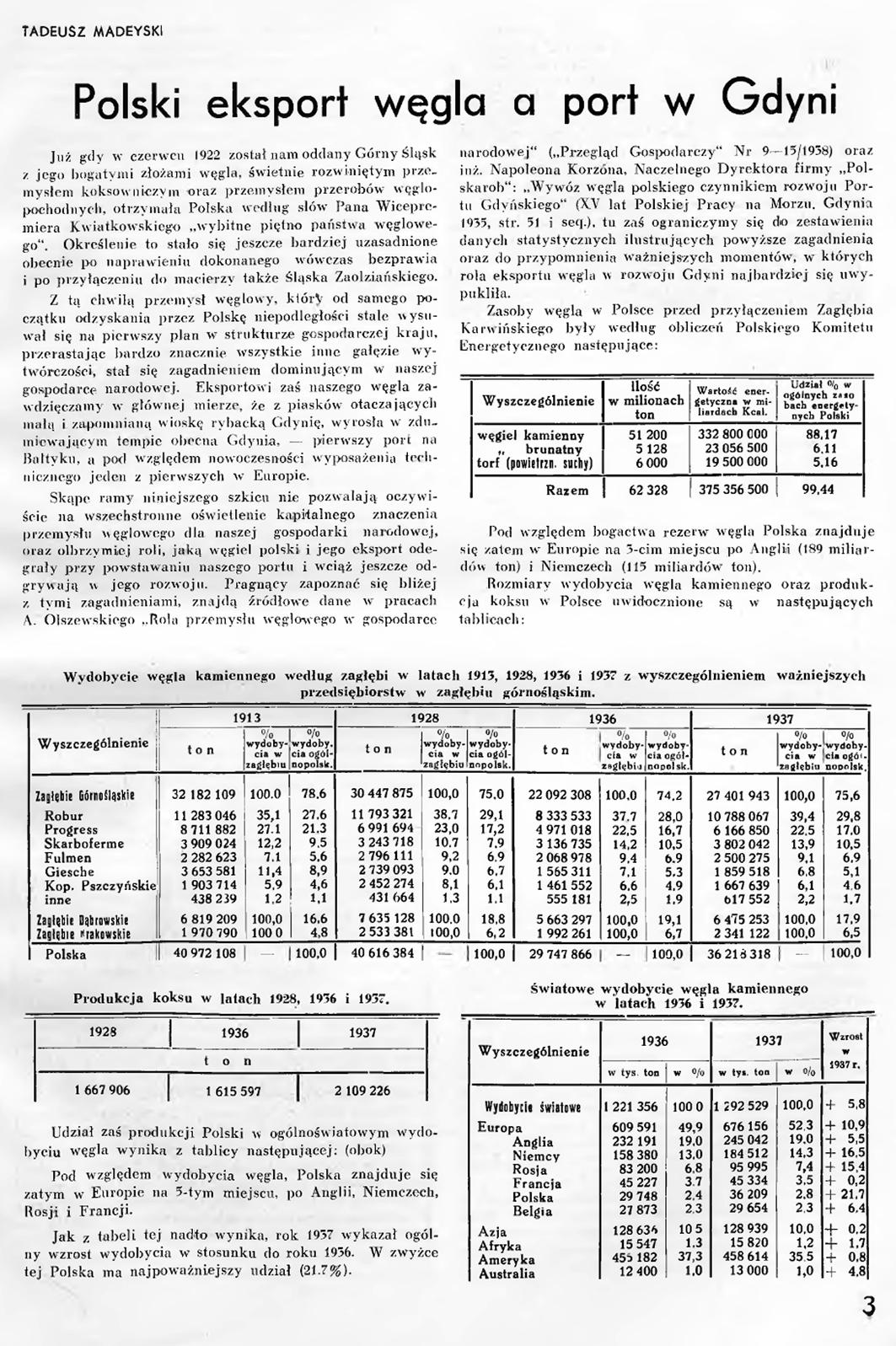Polski eksport węgla a port w Gdynia