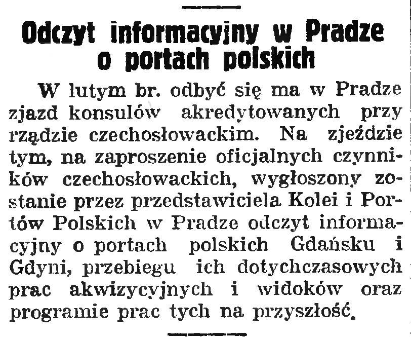 Odczyt informacyjny w Pradze o portach polskich
