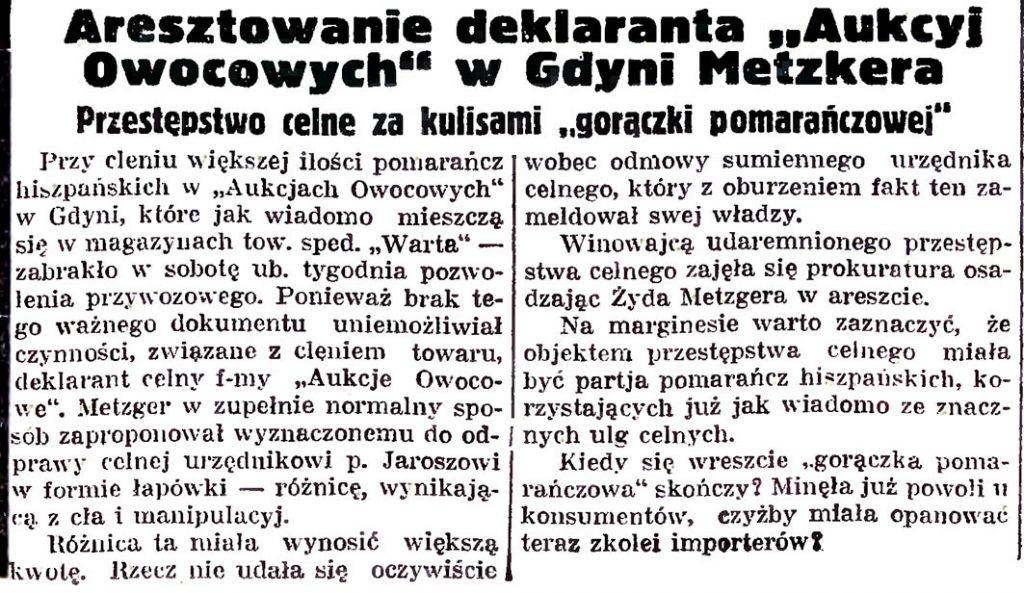 """Aresztowanie deklaranta """"Aukcyj Owocowych"""" w Gdyni Metzkera. Przestępstwo celne za kulisami """"gorączki pomarańczowej"""""""