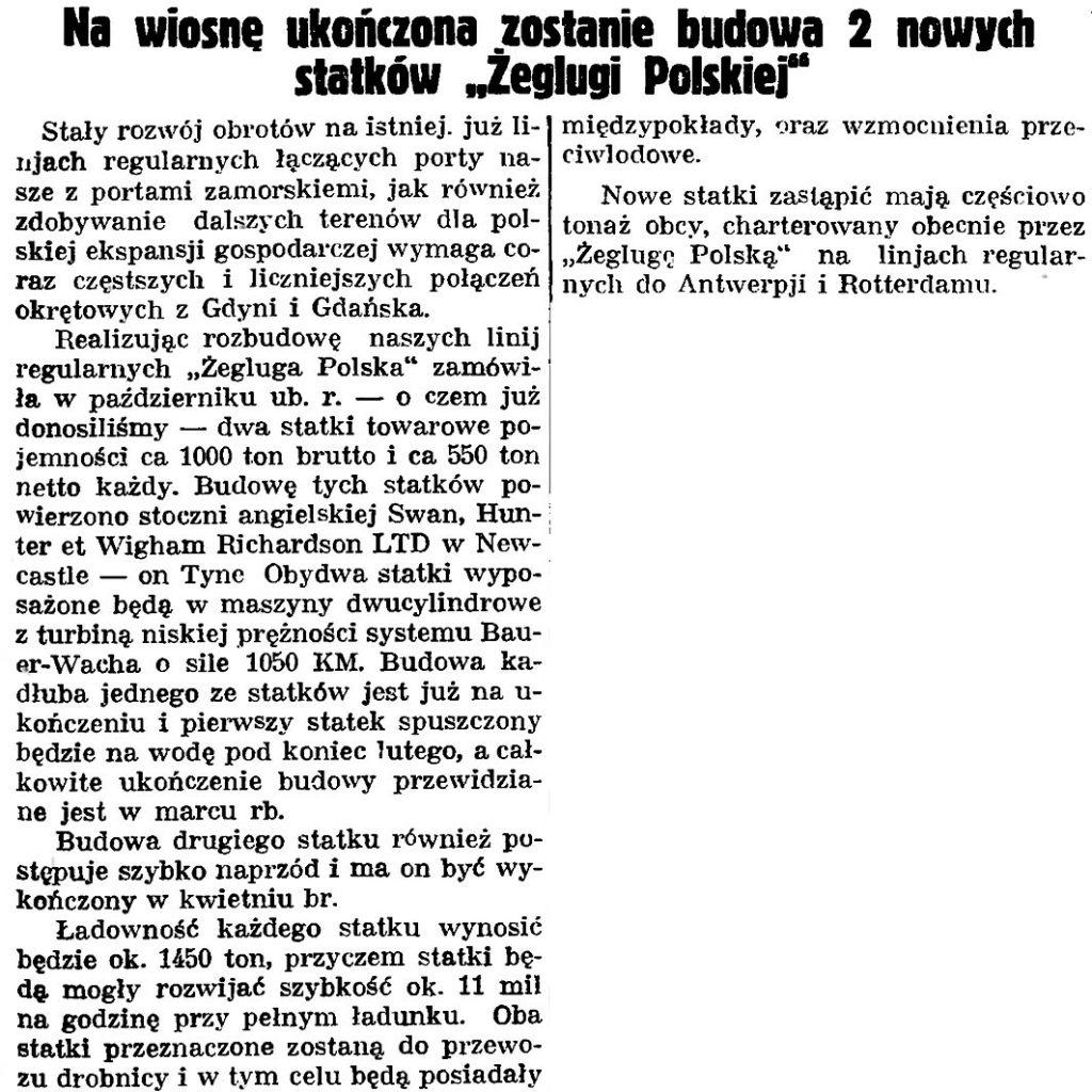 """Na wiosnę ukończona zostanie budowa 2 nowych statków """"Żeglugi Polskiej"""""""