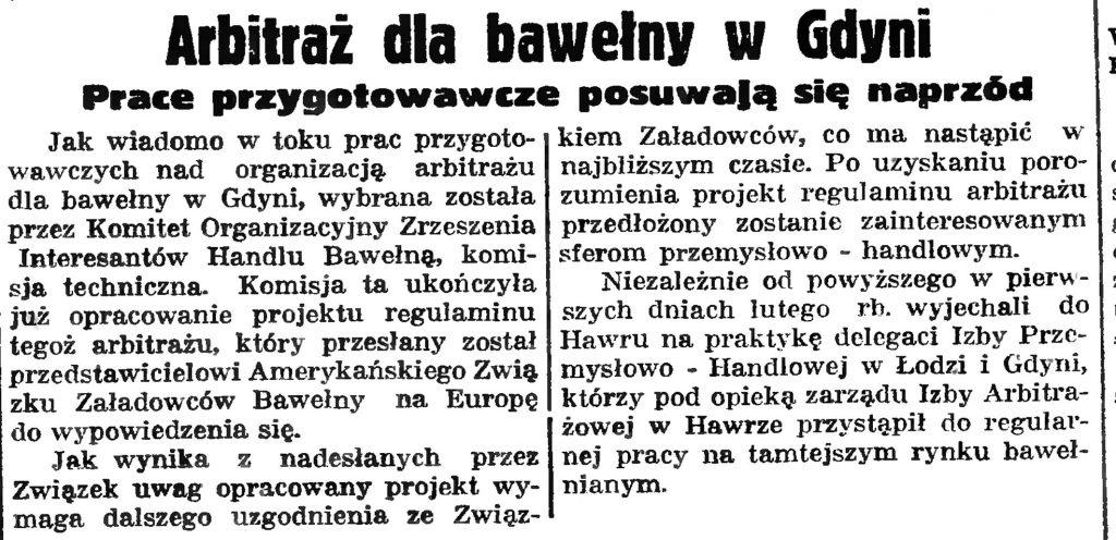 Arbitraż dla bawełny w Gdyni