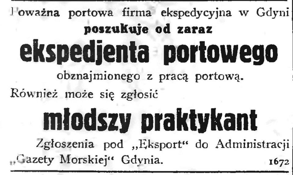 Powazna portowa firma ekspedycyjna w Gdyni poszukuje od zaraz ekspedjenta portowego obeznajomionego z praca portową. Również może zgłosić się młodszy praktykant