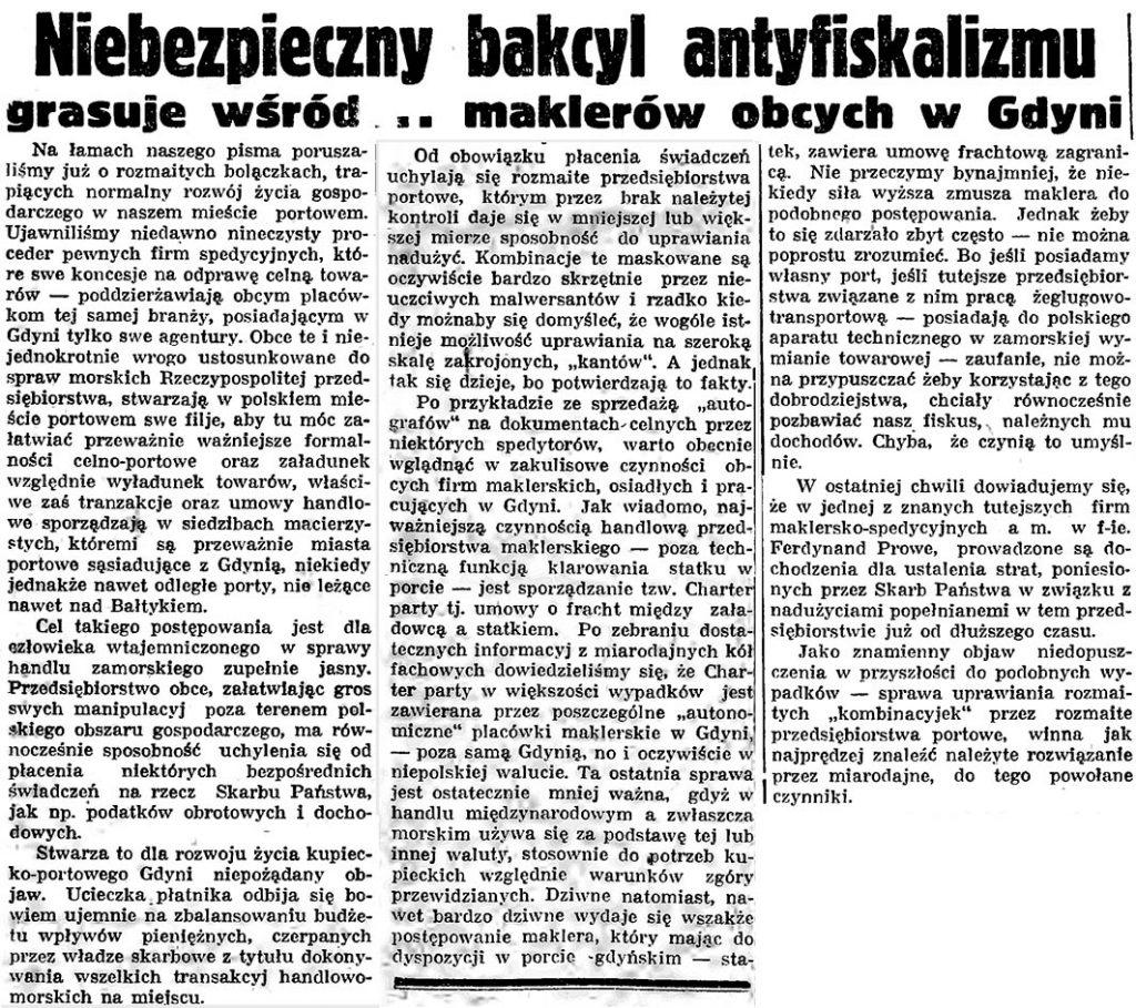 Niebezpieczny bakcyl antyfiskalizmu grasuje wśród ... maklerów obcych w Gdyni
