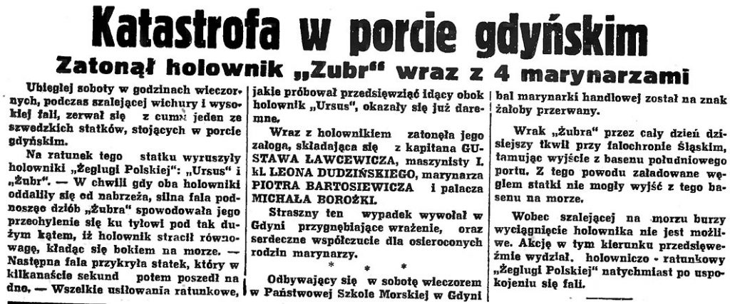 """Katastrofa w porcie gdyńskim. Zatonął holownik """"Zubr"""" wraz z 4 marynarzami"""