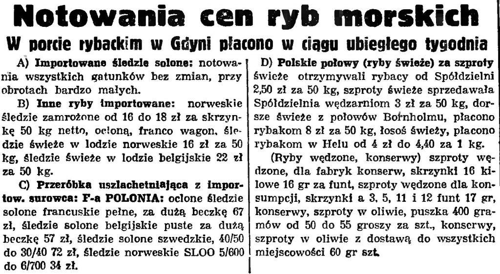 Notowania cen ryb morskich. W porcie rybackim w Gdyni płacono w ciągu ostatniego tygodnia