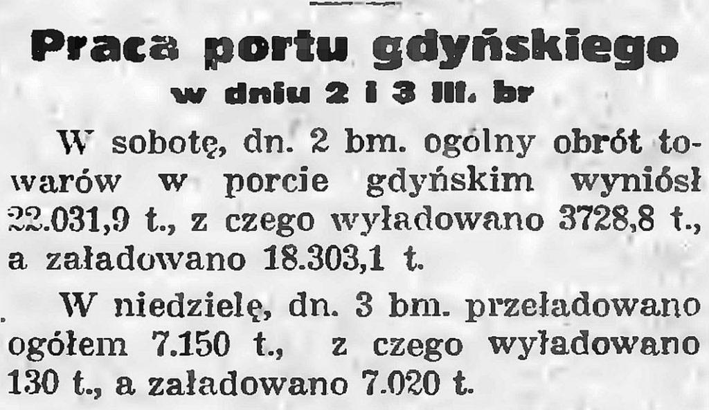 Praca portu gdyńskiego w dniu 2 i 3 III. br