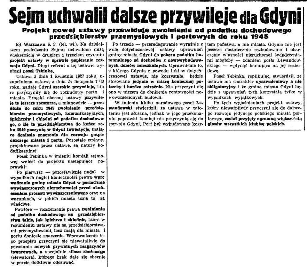 Sejm uchwalił dalsze przywileje dla Gdyni