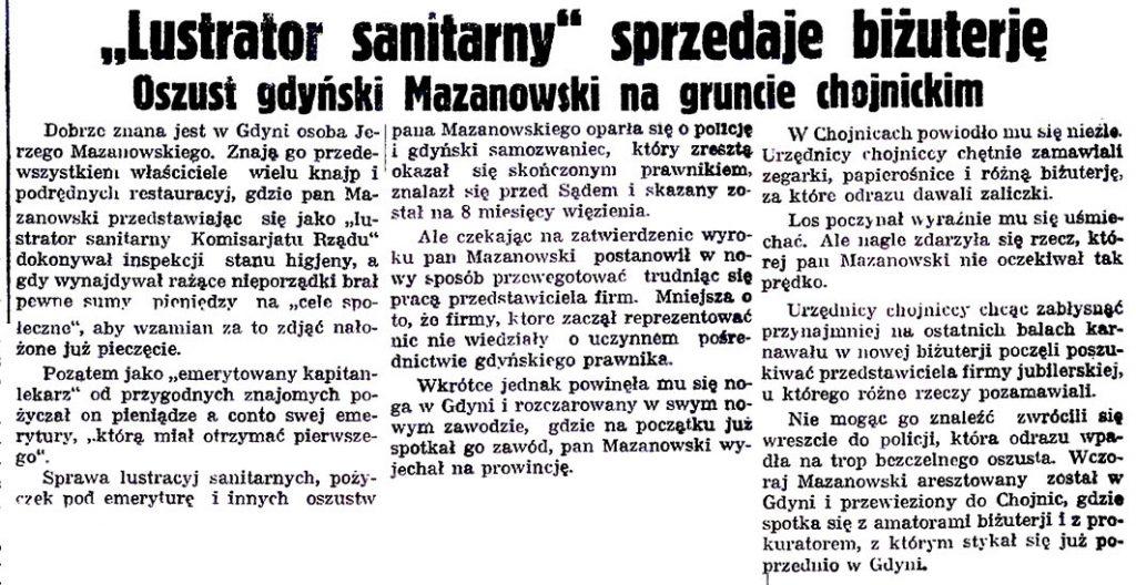 """""""Lustrator sanitarny"""" sprzedaje biżuterję. Oszustgdyński Mazanowski na gruncie chojnickim"""